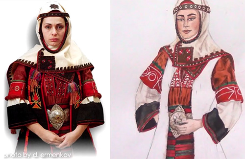 RED/&GREEN NOSIYA НОСИЯ BULGARIAN National FEMALE costume set NEW